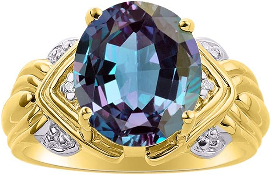 February Birthstone RYLOS Simply Elegant Beautiful Amethyst /& Diamond Ring