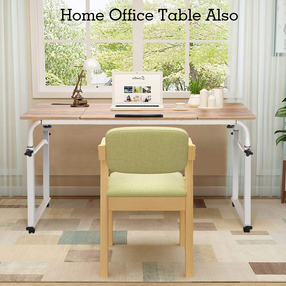 120cm Rolling Table Hospital Nursing Table for Eating on Bed with Adjustable Length and Height sogesfurniture Mobile Overbed Computer Table Laptop Stand Notebook Trolley Cart Black BHEU-203#2-BK