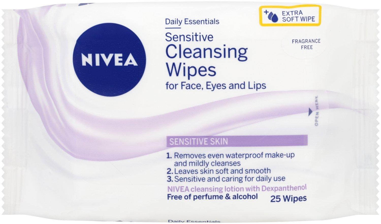 Salviette per il viso Nivea Daily Essentials, per pelle sensibile, confezione da 6, totale 150salviette (etichetta in lingua italiana non garantita) Beiersdorf UK Ltd 81907-04500-05