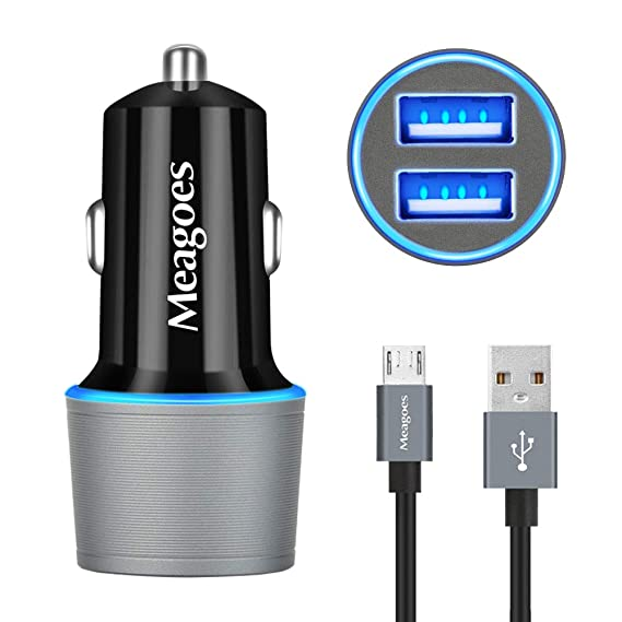 Meagoes Micro USB Car Charger, Compatible Samsung Galaxy J7 V/J7 Prime/J7 Sky pro/J7 Perx/J3 V/J3 Emerge/J3 Eclipse/J3 Luna pro/J3 Prime/J5 Prime/J5 ...