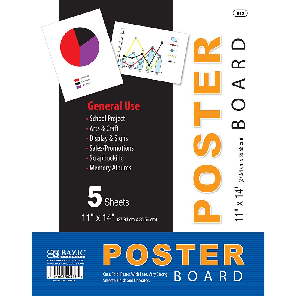 Bazic Poster Board, 11 x 14 Inches, White, 5 sheets/Pack (Case of 48 packs) by BAZIC