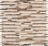 M S International Emperador Blend Bamboo 12 In. X 12 In.Brown Marble Mesh-Mounted Mosaic Tile, (10 sq. ft., 10 pieces per case)