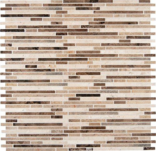 M S International Emperador Blend Bamboo 12 In. X 12 In.Brown Marble Mesh-Mounted Mosaic Tile, (10 sq. ft., 10 pieces per case) by MS International