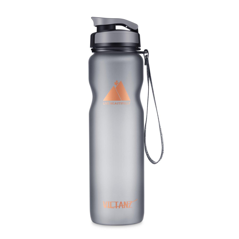 victanzスポーツウォーターボトル1リットル/ 32oz Large Drinking Bottles withフィルタ、リークプルーフ、開くwith 1-click、高速フロー、環境に優しいTritanコポリエステルプラスチック – 100 % BPAフリー B0753D815L  Gray+1000ml