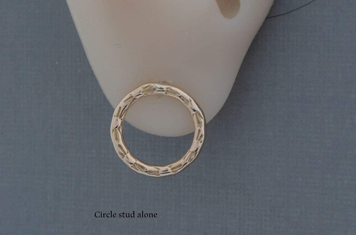 fbcfb3558790b 14k gold filled front back ear jackets double sided hoop earrings little  open circle post studs