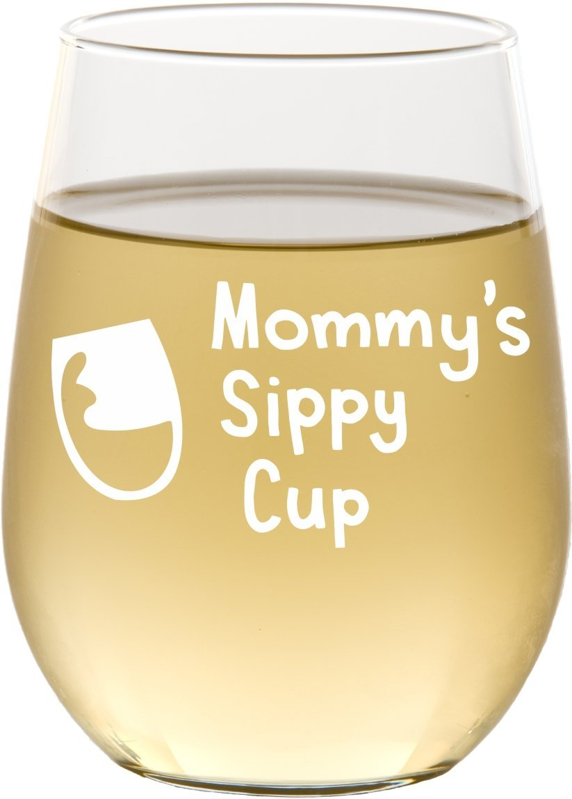 Mommy's Sippy Cup Stemless Wine Glass, New Mom Gift, Mother's Day Gifts - SG15