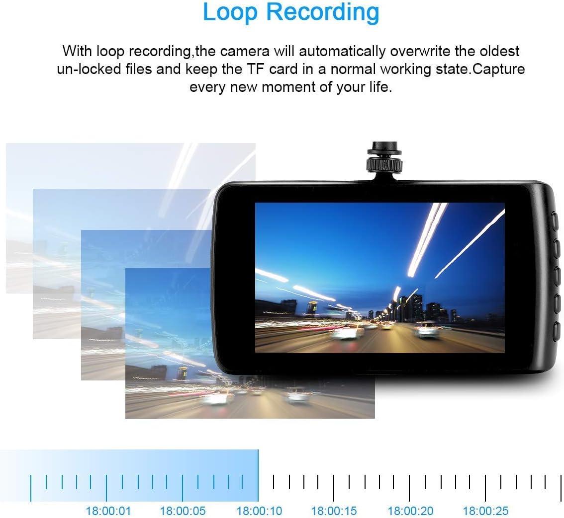 Black Black Dash Cam Wide-Angle Car Video Recorder with 3.7 LCD inch Display Video G-Sensor Loop Recording Car Camera Dashboard Camera Recorder Car DVR 1080P HD Night Vision