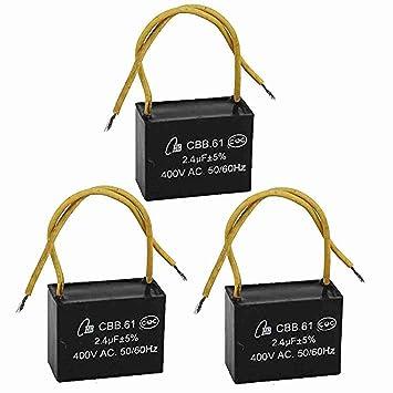 3 PC 2.4UF 400VAC 50 / 60Hz 2 Draht Fan Kondensator CBB61 Schwarz ...