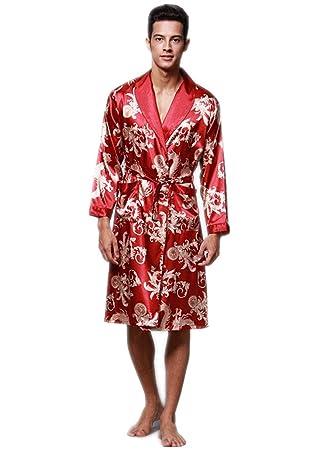 CDSS Albornoz Pijama Camisón Robe Bata Ropa de Dormir para Hombre Satín: Amazon.es: Deportes y aire libre