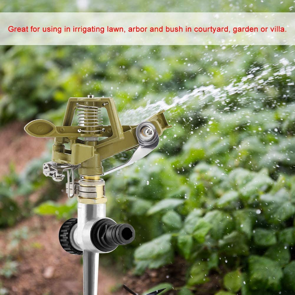 HEEPDD Garden Sprinkler 360 Degree Zinc Alloy Water Sprinkler Kit Lawn Sprinkler with Ground Insert for Watering Your Plants Flowers Veggies 58.5cm Long