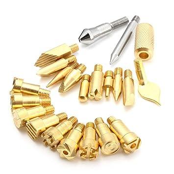 shentan 22 unidades Madera Horno Tool Kit Set artesanas soldar pirograbado de lápiz (latón Consejos: Amazon.es: Bricolaje y herramientas