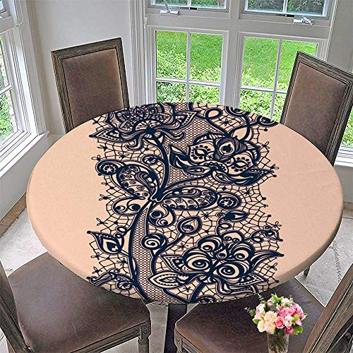 Round Polyester Tablecloth Table Cover lace Ribbon Template Frame Design for Card for Most Home Decor 31.5