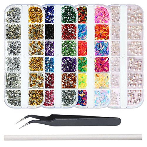 WOKOTO 4Pcs/Set Colorful Nail Ab Rhinestones And Charms Kit With Round And Marquise Shape Rhinestones For Nails Pearls Studs Set With Tweezers And Rhinestone Picker Pencil