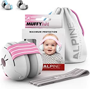 Alpine Muffy Baby Ear Muffs, Ear Protectors for Babies and Toddlers, Blue/White Pink/White