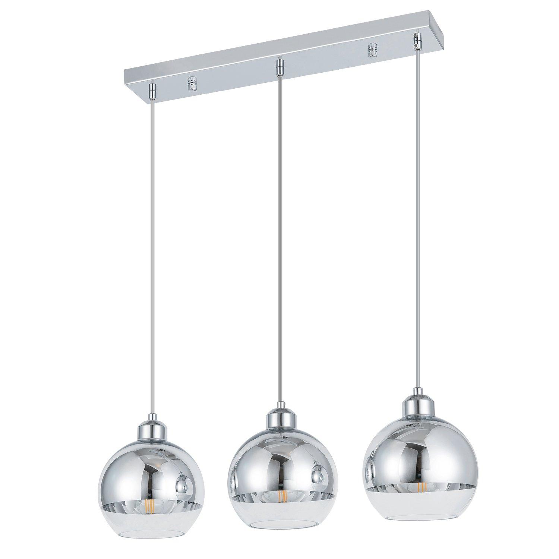 ShengQing 3-Light Mini Globe Pendant Light Modern Kitchen Island Lighting Long Base Mirror Ball Pendant Lighting Fixture in Polished Chrome Finish with Hand Blown Glass by ShengQing (Image #1)