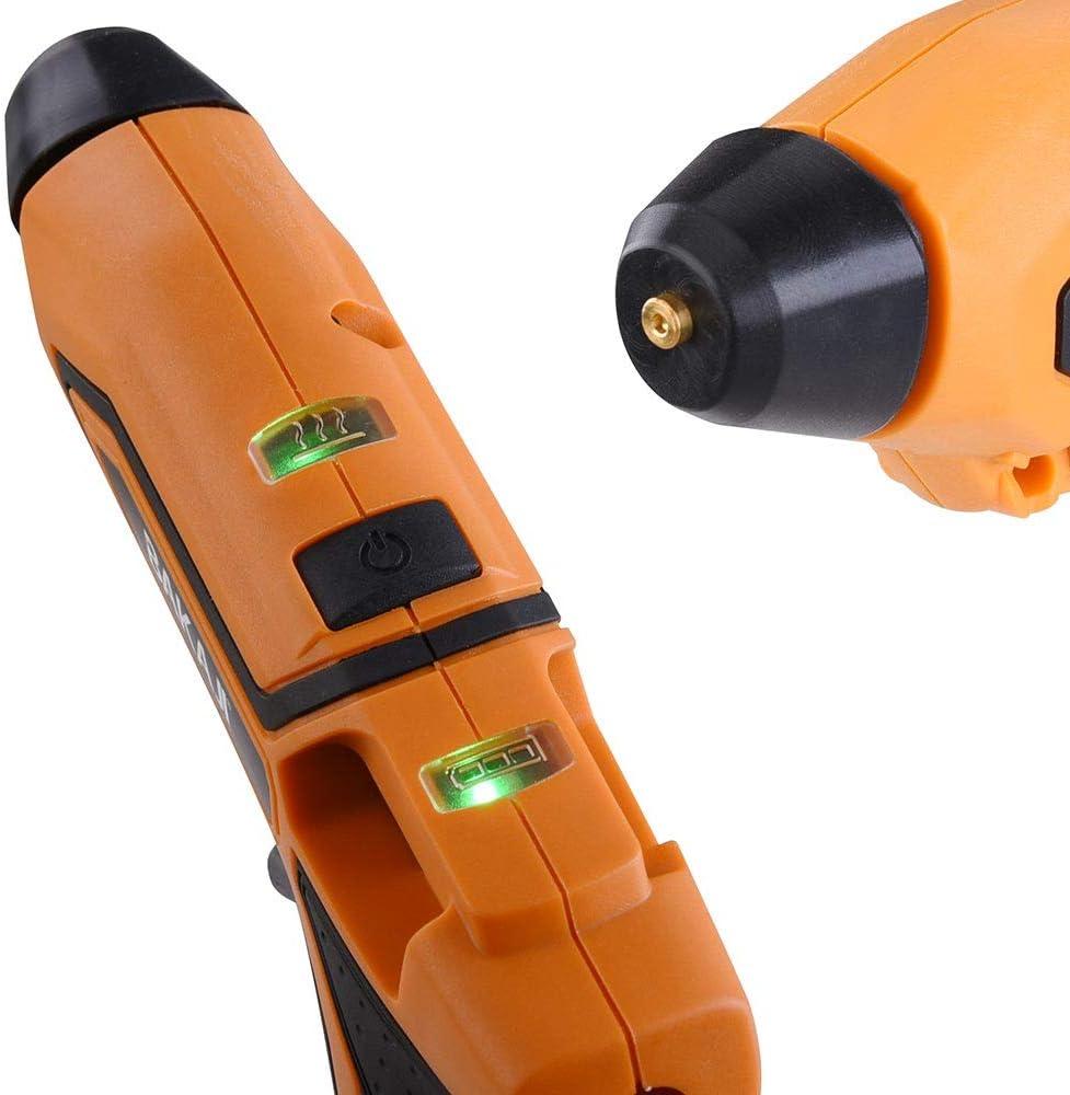 Bakaji Pistola Incollatrice per Colla a Caldo Elettrica Termocollante Riscladamento Rapido a Batteria 3,6V Ricarica USB con Manico Ergonomico Spie LED Supporto da Tavolo e 10 Stick Inclusi