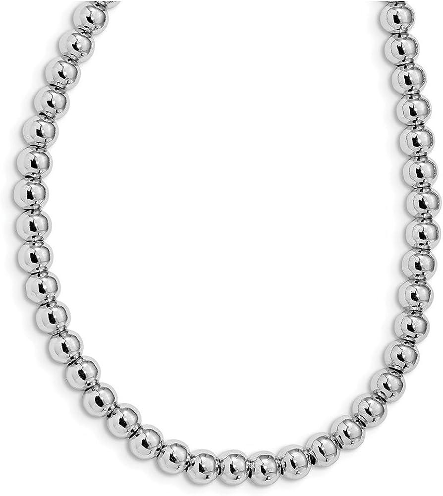 Lex /& Lu Sterling Silver w//Rhodium Beaded Adjustable Slip-on Necklace