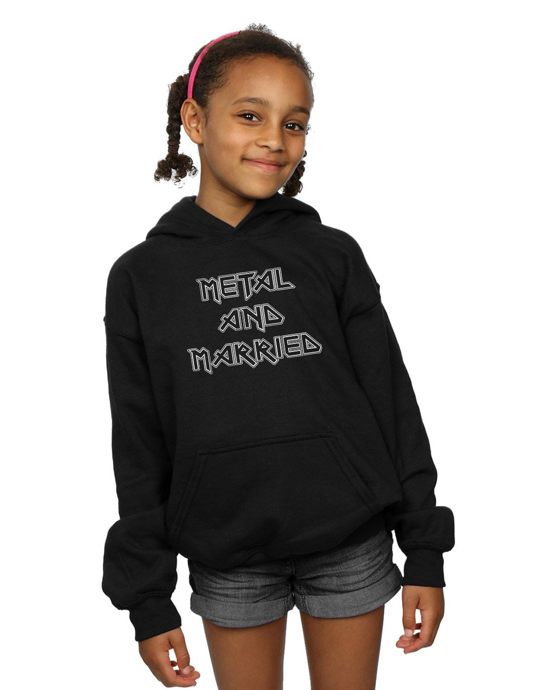Absolute Cult Drewbacca Girls Metal and Married Mono Hoodie Black 7-8 Years