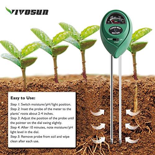 616zxmaVLoL - VIVOSUN 3-in-1 Soil Moisture Light and pH Meter Plant Soil Tester