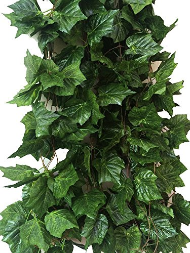 Yatim 41-Ft 5 Strands Artificial Greenery Fake Hanging Vine Plants Wild Jungle Theme Leaf Garland Hanging for Wedding Party Garden Outdoor Greenery Office Wall Decoration