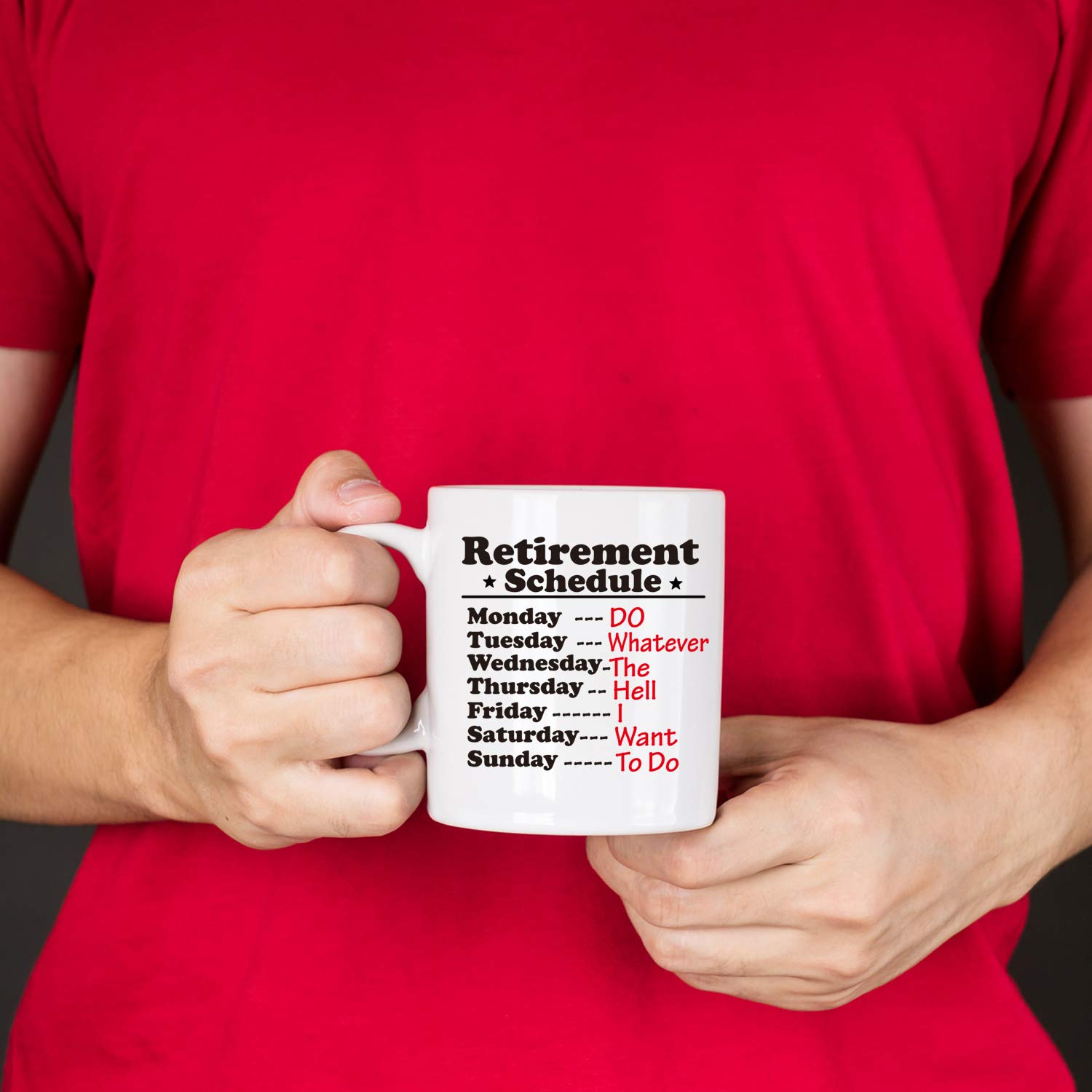 110z Funny Retirement Gift Mug for Women Men Dad Mom Gag Retirement Schedule Calendar Office Humor Coworker Gift Coffee Mug Tea Cup for Coworkers Office /& Family.