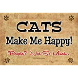 CATS MAKE ME HAPPY! People, Not So Much... - New 9X6 inch Wooden Funny Novelty Pet Sign. This Sign should be used indoors. Handcrafted in Cornwall, Ontario, Canada. Ships from Ontario, Canada.