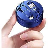巻き取り ケーブル 急速充電 ライトニング MicroUSB 1.3m 収納ケース付き (1.3m, ブルー)