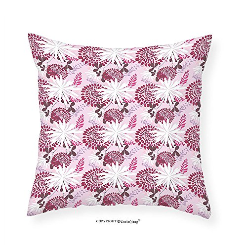 VROSELV Custom Cotton Linen Pillowcase Flower Modern Pink and Purple Toned Swirls Leaves Flourish Dandelions Grunge Art Print for Bedroom Living Room Dorm Multicolor 14