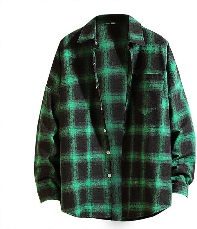 Amasells Camisa Japonesa de Cuadros para Hombre, Blusa Informal de Moda para Hombre, Camiseta Suelta de Manga Larga, M ~ 5XL: Amazon.es: Ropa y accesorios