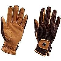 Dublin Unisex Crochet Leather Riding Gloves (XL) (Natural/Pink)