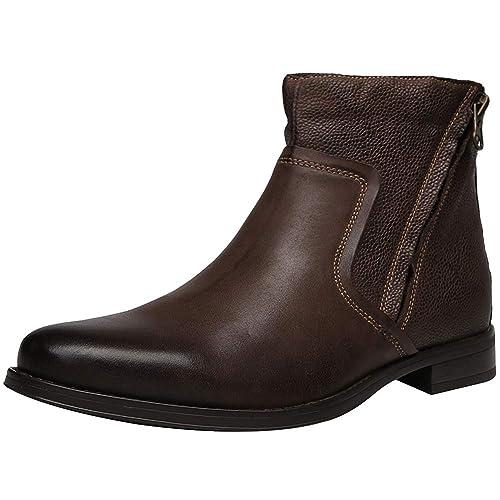Jamron Hombres Estilo Retro De Buen Tono Piel Genuina Botas de Chukka Botines con Cremallera Dobles: Amazon.es: Zapatos y complementos