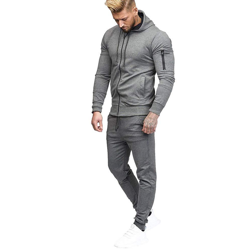 Sweatshirts for Men Mens Autumn Patchwork Zipper Sweatshirt Top Pants Sets Sports Suit Tracksuit