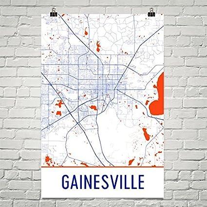 Amazon.com: Modern Map Art Gainesville Poster, Gainesville Art Print ...