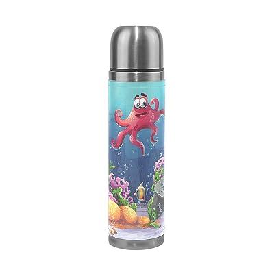 Jstel Octopus Corail colorées et les récifs d'algues Sable en acier inoxydable Gourde thermos anti-fuites Vacuum isotherme à double paroi pour café chaud ou froid à thé + Boisson Tass