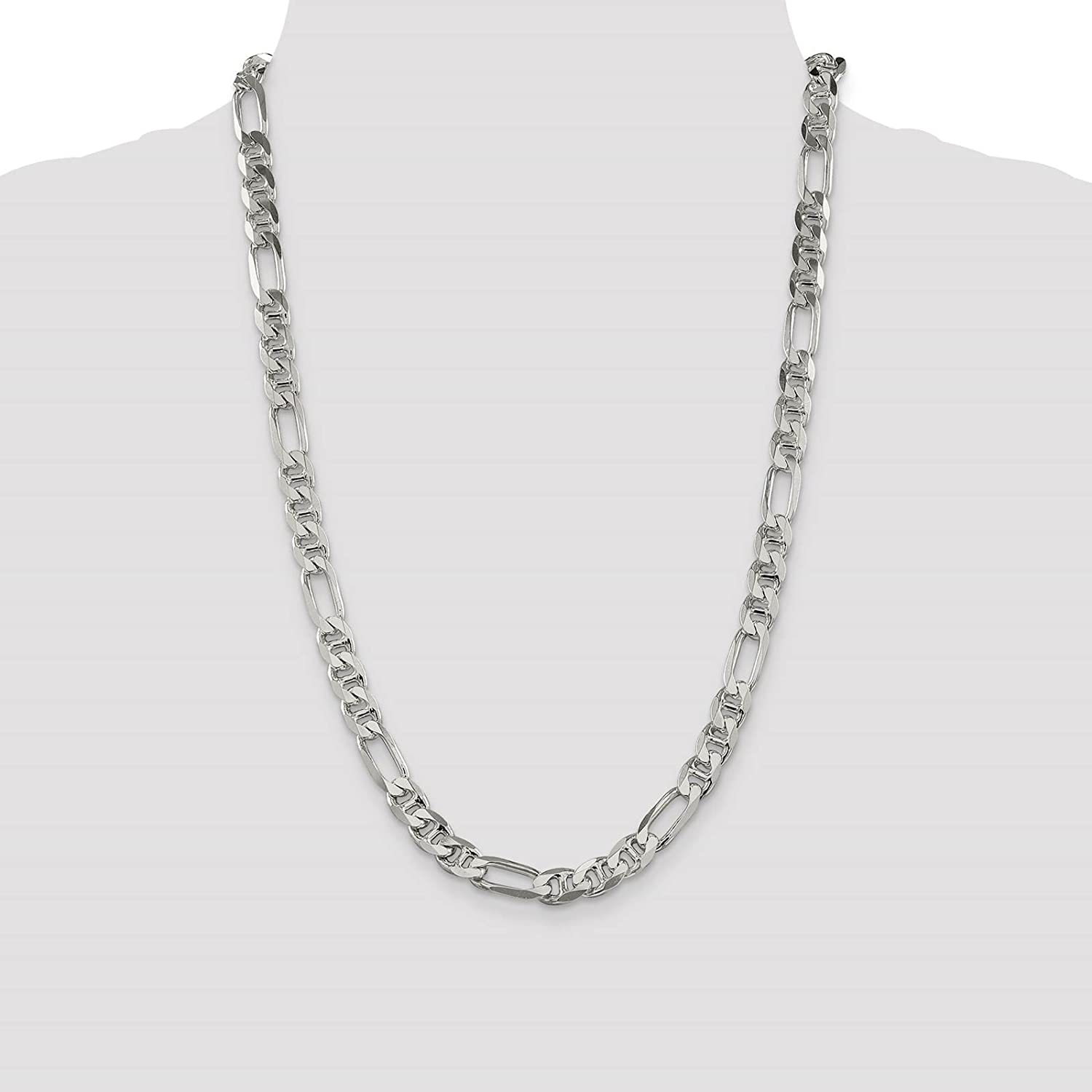 925 Sterling Silver 7.7mm Polished Figaro Anchor Link Chain Necklace 7-24