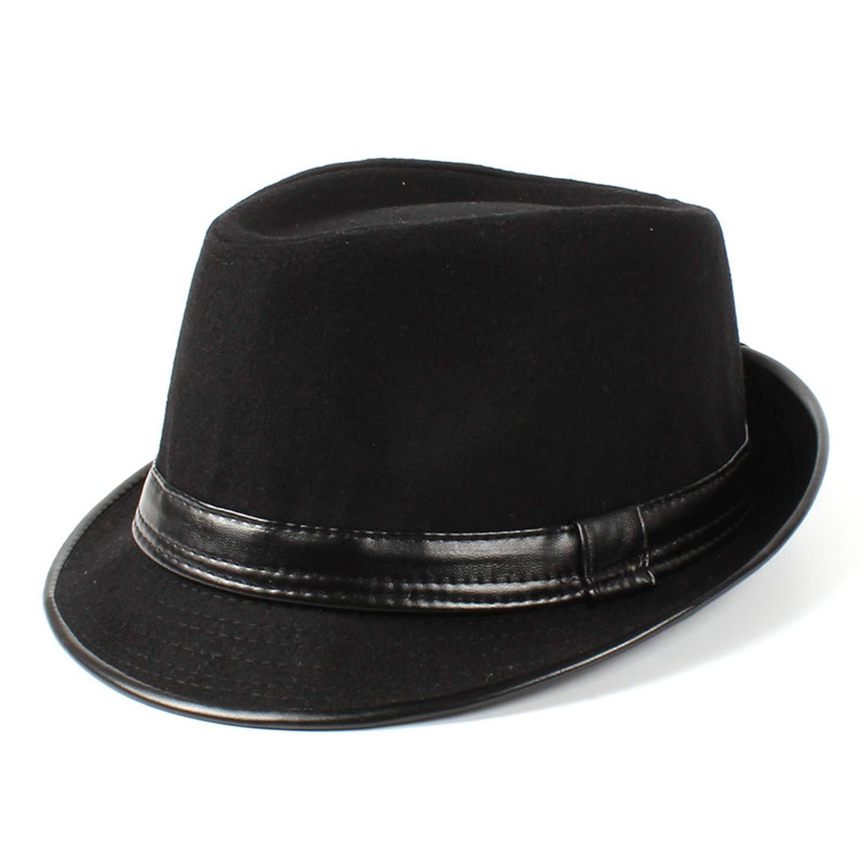 DOSOMI Autumn Winter Wool Men Leather Fedora Hats Gentleman Jazz Godfather Hat