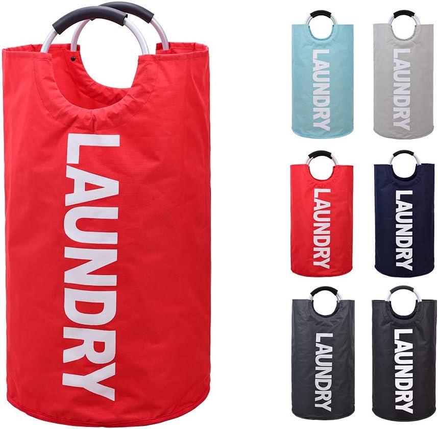EASYCEL Laundry Basket, 82L Large Collapsible Fabric Waterproof Laundry Hamper Bag, Foldable Clothes Storage Washing Bag, Folding Washing Bin(Red)