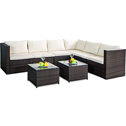 Leisure Zone Rattan Patio Furniture Set Wicker Sofa Cushioned Sectional  Furniture Set Garden Patio Sofa Set
