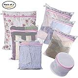 Laundry Bags - Set of 7 - Mesh Washing Drying Bag Durable Coarse Mesh: 1XL 1L 1M - Fine Mesh: 1L 2M - 1 Sandwich Bra Wash Bag - Super Quality for Blouse Stocking Lingerie Travel Organizer Bag