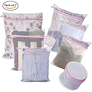 Laundry Bags - Set of 7 - Mesh Washing Drying Bag Durable Coarse Mesh: 1XL 1L 1M - Fine Mesh: 1L 2M - 1 Sandwich Bra Wash Bag - Super Quality for Blouse Stocking Lingerie Travel Organizer Bag