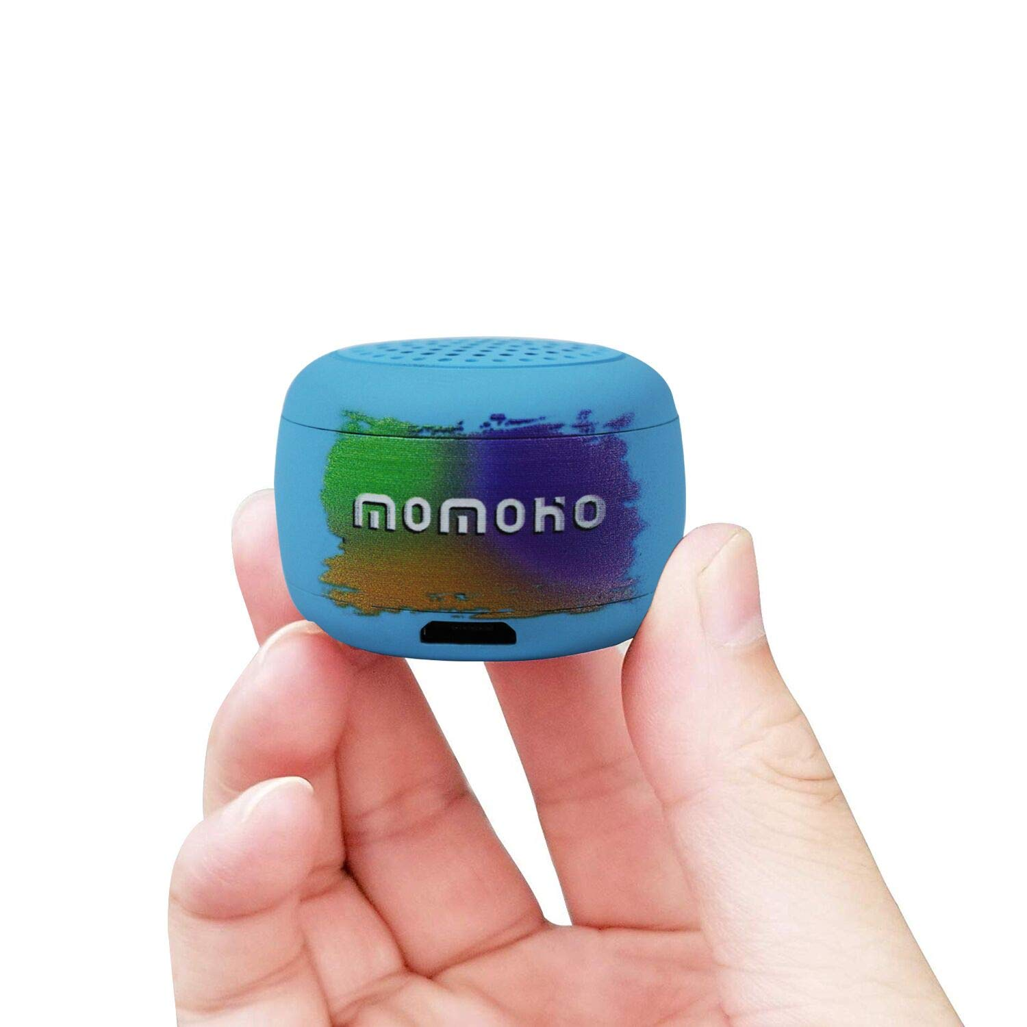 momoho Small Bluetooth Speaker - Mini Size but Great Sound Quality,Photo Selfie Button & Answer Phone Calls,BTS0011 (Blue) by momoho