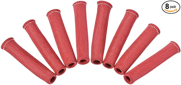 PINK 8PCS 1200° SPARK PLUG WIRE BOOTS HEAT SHIELD PROTECTOR SLEEVE SBC BBC