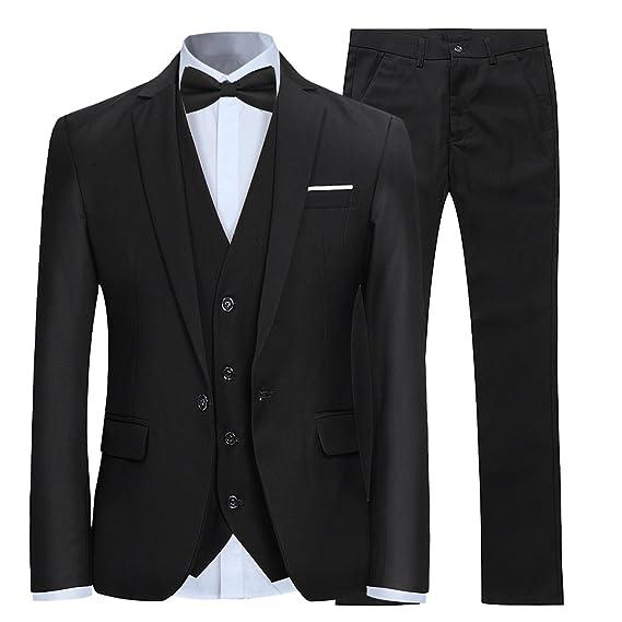2d0500739e72 Mens Suits 3 Piece Slim Fit Wedding Formal Tuxedo One Button Close Blazers  Jacket Waistcoat Trousers