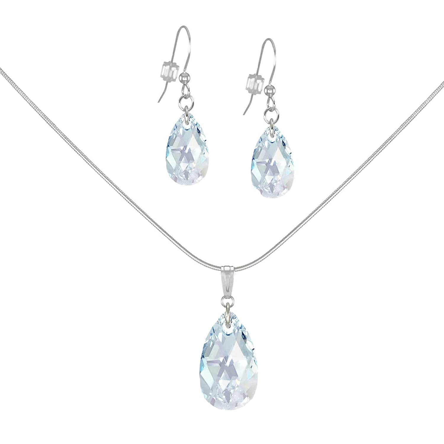 *SALE* Fast-and-Free-Shipping - Swarovski Crystal Light Blue Aurora Borealis Teardrop Sterling Silver Necklace and Earring Set