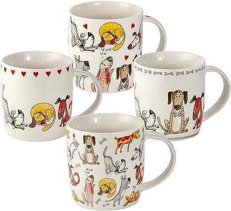 Juego Tazas de Café, Tazas Desayuno Originales de Té Café, Porcelana con Diseño de Perros, 4 Piezas - Regalos para Amantes de los Perro Mujeres y Hombres: Amazon.es: Hogar