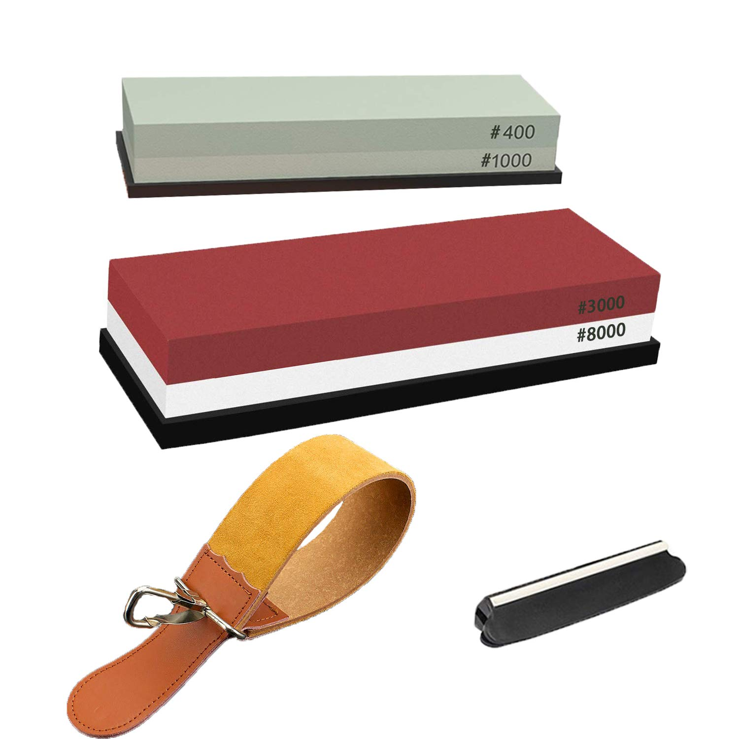 2-IN-1 Sharpening Stone Premium 4 Side Grit 400/1000 3000/8000 Water Stone Kit 。 Angle Guide and Leather Strop。Polishing Tool for Kitchen, Hunting and Pocket Knives by SVZIOOG