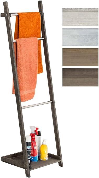 Toallero De Pie Kyoto I Toallero De Baño con 3 Barras de Metal & Estructura De Madera I Toallero En Estilo Rústico I Color:, Color:marrón Oscuro: Amazon.es: Hogar