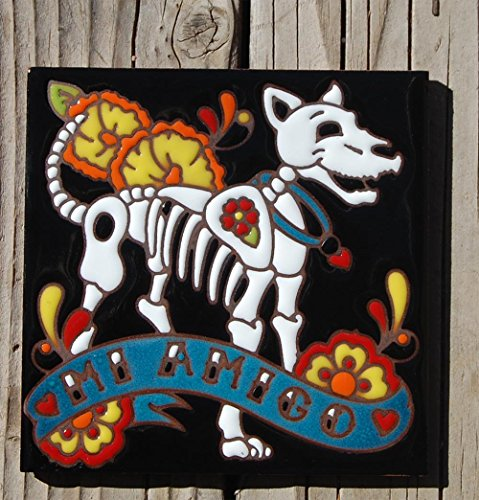 6x6 Hand Glazed Day of the Dead Dog Tile