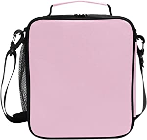 Lunch Box Bag Insulated Lunch Tote Light Pink Pure Color Thermal Cooler Shoulder Strap Portable Food Container Travel Office School Picnic For Women
