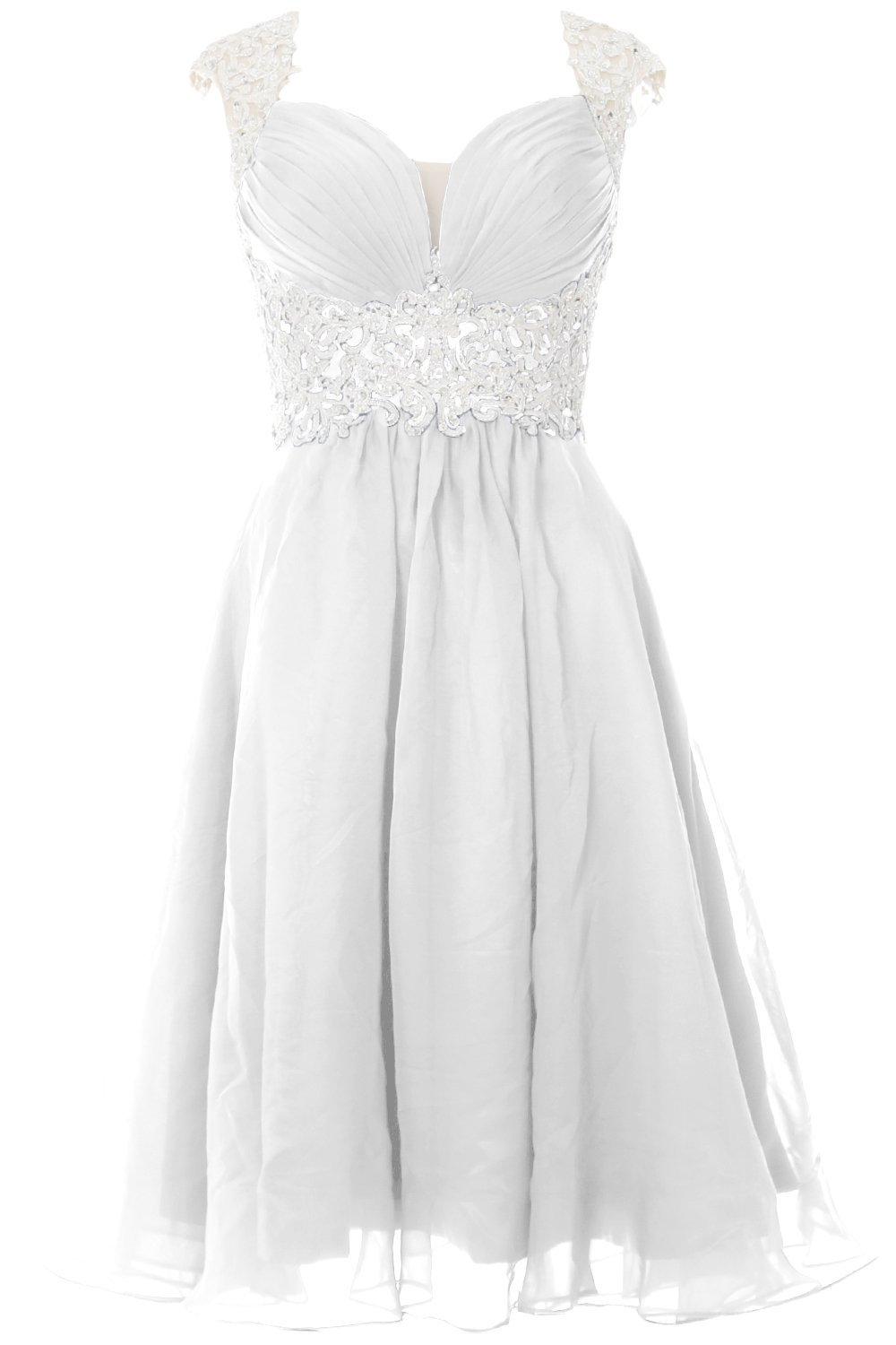 MACloth Women Cap Sleeve Lace Chiffon Short Prom Dress Wedding Party Formal Gown (14, White)